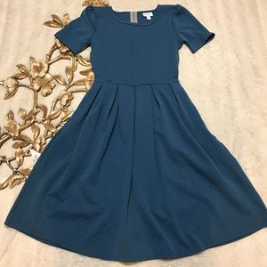 Lularoe Amelia Blue Fit & Flare Dress Size S